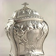 SOLD Antique Sterling Silver Tea Caddy~George III~Rococo with Crest