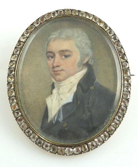 Antique Miniature Portrait of Georgian Gentleman Set In  Rose Gold