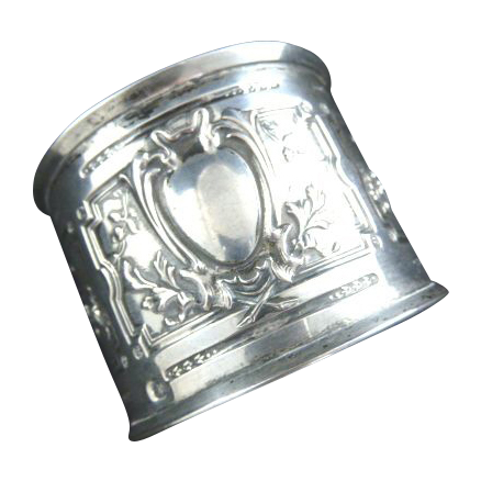 Antique French Silver Napkin Ring Rococo Roses