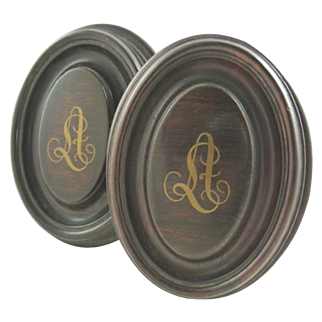 REDUCED Antique French Wood Curtain Tiebacks or Drapery Finials with Gilt Monogram