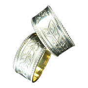Antique Pair of Krupp Silver Napkin Rings with Gilt Wash