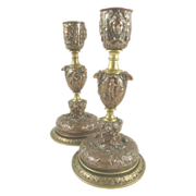Antique French Bronze Candlesticks Baroque Style