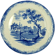 Antique Child's Tea Plates in the Humphrey's Clock Pattern by Ridgway Blue & White Transferware