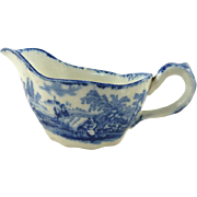 Child's Gravy Boat the Humphrey's Clock Pattern by Ridgway Blue & White Transferware