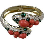 SALE Enameled Snake Clamper Bracelet