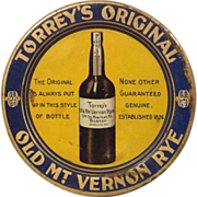 Pre Prohibition Old Mount Vernon Rye Tip Tray