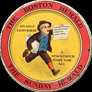 Boston Herald Newspaper Advertising tip tray Litho