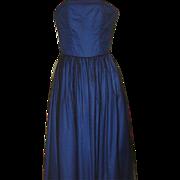 Vintage 80s Designer Blue Black Lace Strapless Dress