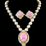 Vintage Vendome Necklace Earrings Pink Matrix Egg Fx Pearl Rhinestone
