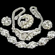 Vintage Trifari Rhinestone Necklace Bracelet Brooch Earring Promenade 1952 Ad Book Set