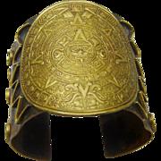 Vintage Mexico Cuff Copper Brass Aztec Tribal Boho Chic Bracelet