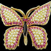 Vintage Weiss Fx Pearl Rhinestone Butterfly Brooch