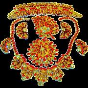 SALE Vintage Juliana Necklace Bracelet 2 Brooches 2 Earrings Topaz Hexagon Coffin Rhinestone D