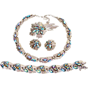 Vintage Trifari Atomic Rhinestone Necklace Bracelet Brooch Earrings Electric Blue Book Set