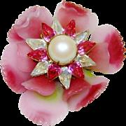 SALE Early Vrba Brooch Ruffled Glass Flower Fx Pearls Rhinestones