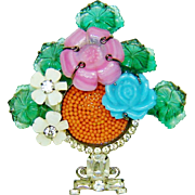 SALE Vrba Flower Basket Brooch Art Glass Beads Rhinestones