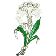 Vintage 40s Enamel Rhinestone Carnation Brooch