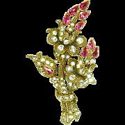 Vintage Staret Brooch Pink Flowers Diamante Rhinestone Huge