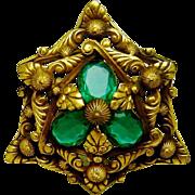 SALE Vintage Joseff Hollywood Brooch Rhinestone Shield