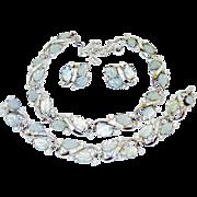 SALE Vintage Trifari Glass Leaves Rhinestone Necklace Bracelet Earrings Book Ad Set