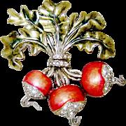 SALE PENDING 1941 Boucher Radish Brooch Metallic Enamel Diamante Rhinestones