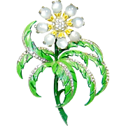 Vintage Chanel Novelty Brooch Enamel Moonstone Flower Book Piece