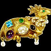 1960s KJL Mythology Brooch Faux Pearl Rhinestone Cabochon Deer