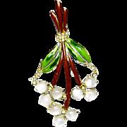 Vintage Moonstone Brooch Enamel Rhinestone Flower