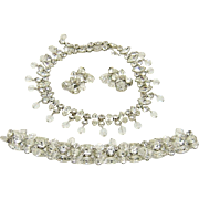 Vintage Kramer Set Rhinestones Crystal Dangles Necklace Bracelet Earrings