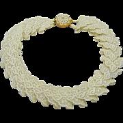 SALE Vintage Ivory Pierced Celluloid Necklace Bakelite Clasp