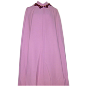 Vintage 1960s Rose Wool Balestra Roma Dress Cape Haute Couture