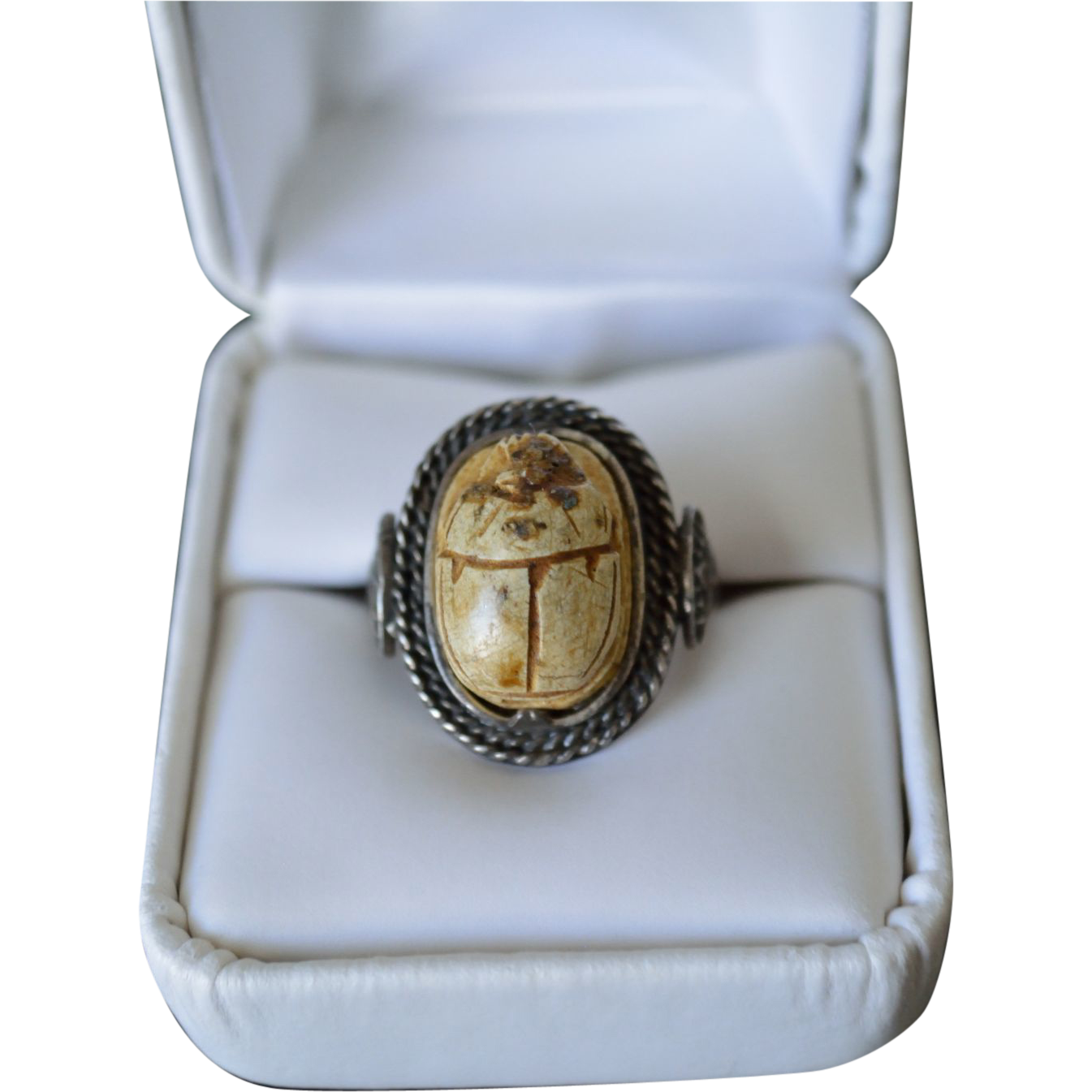 antique faience scarab beetle silver ring from