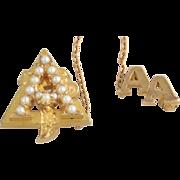 Genuine Alpha Gamma Delta Badge Pearl Pin - 14k Yellow Gold 5+g Vintage Sorority