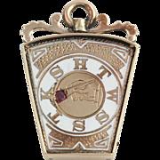 Antique Knights Templar Royal Arch Keystone Fob - 10k Yellow Gold Genuine Ruby
