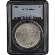 SOLD 1886 PCGS MS64 Morgan Dollar - Graded Silver Investment Certified Coin $1