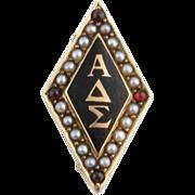 Antique Alpha Delta Sigma Fraternity Badge - 14k Yellow Gold Pearls Garnets 1890
