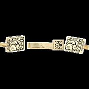 Filigree Cufflinks & Tie Bar Set - 14k Yellow Gold Men's jewelry Folding Bar