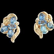 Blue Topaz & Cubic Zirconia Earrings - 18k and 14k Yellow Gold Pierced Fashion CZ