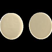 Engravable Oval Earrings - 14k Yellow Gold Screw Backs Non-Pierced Women's 8.9g F4864