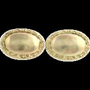 Edwardian Men's Cuff Llinks - 10k Yellow Gold Textured Oval Face Fine Estate