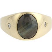 SOLD Black Sapphire & Diamond Men's Signet Style Ring - 14k Yellow Gold .80ctw