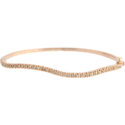 "SOLD Curved Diamond Bangle Bracelet 6.5"" - 14k Rose Gold Wave Women's Natural .55ctw"