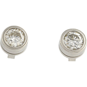 Diamond Solitaire Stud Earrings - 14k White Gold Round Natural .83ctw
