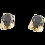 Black Diamond Stud Earrings- 14k Yellow Gold Pierced Fine Estate Genuine 1.63ctw