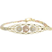 "SOLD CZ Quinceañera 15 Bracelet 7.25"" - 10k Yellow White Rose Gold Tri-Toned Birthday"