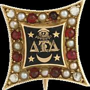 Delta Tau Delta Vintage Fraternity Badge Pin - 14k Gold Diamonds Pearls Garnets