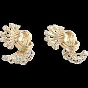 Diamond Knot Earrings - 14k Yellow Gold Women's Sparklers 1.08ctw Pierced Estate