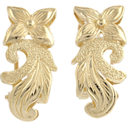 Gold Floral Earrings - 14k Yellow Gold Fine Estate Polished Omega Backs Pierced