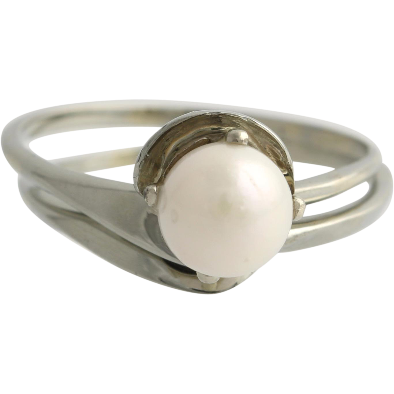 cultured pearl engagement ring wedding band set 18k