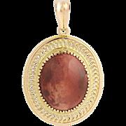 Plume Jasper Pendant - 14k Yellow Gold Oval Genuine Gemstone Women's